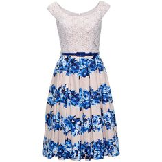 Aquatic Bloom Dress ($290) ❤ liked on Polyvore featuring dresses, flared midi dress, calf length dresses, flared dress, petticoat dress and lacy dress