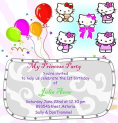 Hello Kitty Birthday Invitation Designs Templates  Hello Kitty