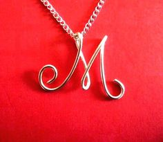 Custom Initials Necklace Silver Wire Charm by CreativeStamps