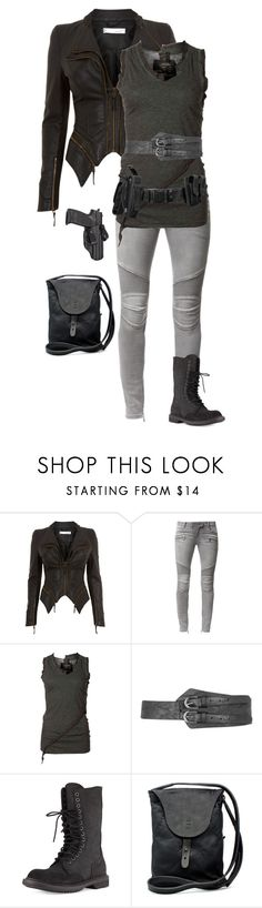 """""""Black"""" by gone-girl ❤ liked on Polyvore featuring Balmain, AllSaints, Dorothy Perkins, Rick Owens and Johnny Farah"""