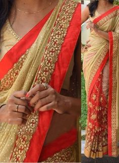 Red Beige Embroidery Thread Work Lycra Silk Net Wedding  Half N Half Sarees http://www.angelnx.com/Sarees/Wedding-Sarees