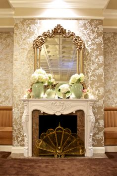 A fantastic shot of the fireplace located in The French Room - a gorgeous Parisian-inspired space.