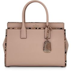 Kate Spade New York cameron street candace snakeskin satchel bag ($398) ❤ liked on Polyvore featuring bags, handbags, beige, beige satchel handbag, satchel handbags, beige purse, zip purse and brown handbags