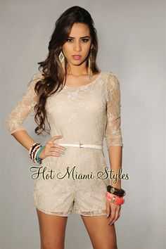 Beige Silver Accent 3/4 Sleeves Belted Romper