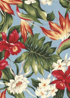 Tropical Hawaiian Hibiscus, bird of paradise, & protea - cotton barkcloth fabric. Add Discount code: in comment box at check out for off sub total at Motifs Textiles, Textile Patterns, Print Patterns, Motif Floral, Floral Prints, Tropical Prints, Illustrations Vintage, Tropical Pattern, Poster S