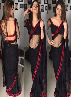Indian Blouse Designs, Saree Blouse Designs, Dress Designs, Lace Saree, Saree Dress, Black Saree Blouse, Lengha Choli, Fancy Sarees, Party Wear Sarees