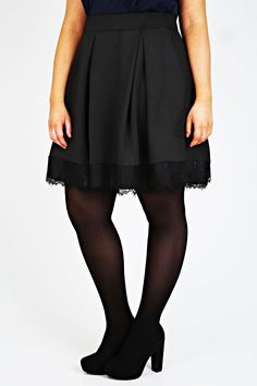 Black Pleated Skater Skirt With Lace Hem