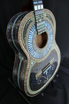 Wiggy Stardust Mosaic Guitar by tinytilemosaics (Sally), via Flickr
