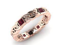 Rose gold Celtic Knot Eternity Band with Rhodolite Garnet Celtic Wedding Rings, Celtic Rings, Celtic Knot, Garnet Jewelry, Silver Jewelry, Irish Jewelry, Eternity Bands, Bling Bling, Jewelery