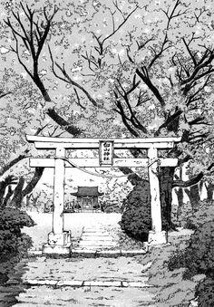 illustration pretty woman polka dot dress and shoes - Woman Shoes Landscape Sketch, Landscape Drawings, Urban Landscape, Cityscape Drawing, City Drawing, Japanese Gate, 8bit Art, Background Drawing, Japon Illustration