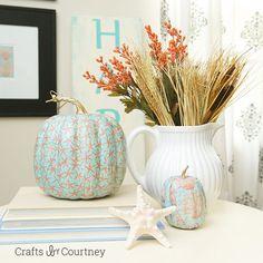 Mod Podge Fall Coastal Theme Pumpkins - beautiful Halloween or fall home decor.