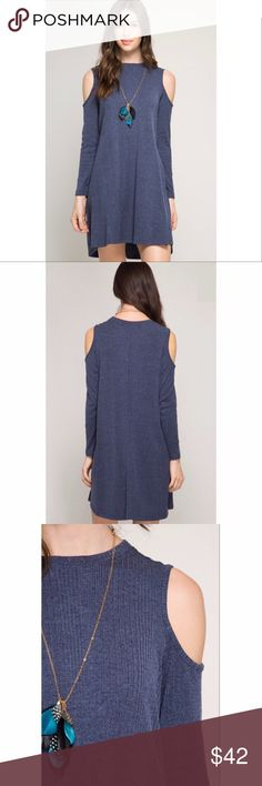 NWT✨ The Everyday Dress Features: NWT, ribbed shift dress, long sleeve, round neckline, cold shoulders, navy, 70% cotton, 30% rayon, above the knee, cold wash-hang to dry, fits true to size, imported. Dresses