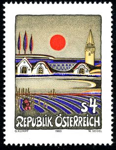 Evening Sun in Burgenland by Gottfried Kumpf (born 1930). Post stamp from Austria, engraving by Wolfgang Seidel, c. 1983.
