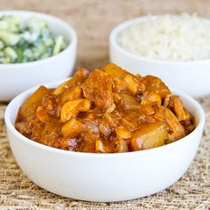 Sweet, Curried Mango Chicken with Cashews and Basmati Rice and Minted Cucumbers in Yogurt