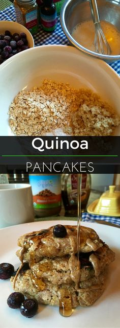 These Quinoa Pancakes are delicious! Top them syrup, almond butter or your favorite fruits. They also freeze well, so they can be made in advance and reheated in a toaster. | Clearly Organic Nutritionist Corner