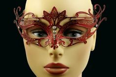 Laser Cut Venetian Halloween Masquerade Mask Costume Extravagantly Simple Inspire Design - Red w/ Rhinestones *** You can find out more details at the link of the image.