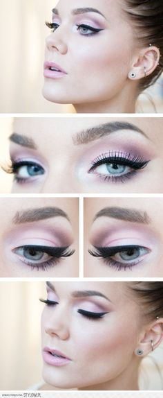 Soft pink with cat-eye look