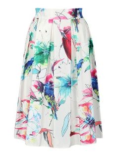 Shop White Painted Floral And Bird Print Midi Skater Skirt from choies.com .Free shipping Worldwide.$22.99