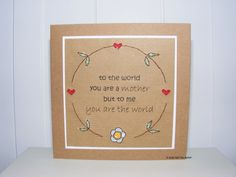 Mother's Day card  hand stitched  recycled by lifeslittleblessing