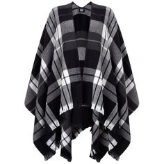 Vero Moda Check Poncho (€30) ❤ liked on Polyvore featuring outerwear, jackets, coats and lipsy