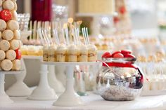 Stately, elegant, and festive - the perfect description for the miniature dessert table we did for a holiday wedding reception held at Calho. Wedding Menu, Wedding Reception, Wedding Cakes, Banana Pudding Desserts, Dessert Shooters, Party Rock, Mini Desserts, Dessert Table, Vases