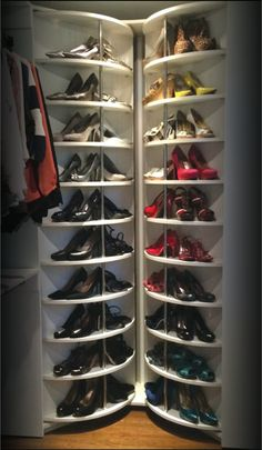 "Lazy Lee Closet Corner: This awesome invention is called ""The Woman's Dream"". This closet storage unit holds up to 230 pair of shoes."