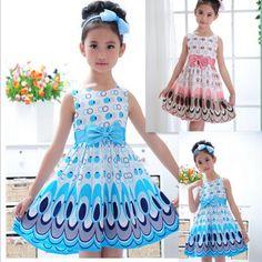 2014 kinderen meisjes jurk schattige pauw kleur mouwloze prinses jurk cirkel korean fashion blauw