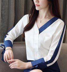 2018 Long Sleeve Chiffon Blouse Shirt Women Top Female V-neck OL blouse Blusa Iranian Women Fashion, Korean Fashion, Fashion Women, Women's Fashion, Fashion Tips, Blouse Designs, Blouse Styles, Hijab Styles, Casual Outfits