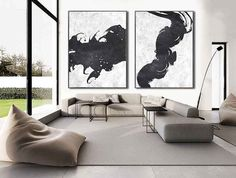 Set Of 2 Extra Large Acrylic Painting On Canvas, Minimalist Painting Canvas Art, Abstract Painting Wall Art, HANDMADE.