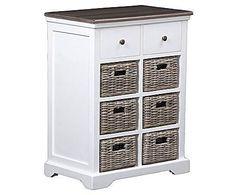Armário branco com caixas organizadoras.