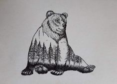 Black and White Stippling Animal Drawings. By mARTin. Ankle Tattoo Small, Ankle Tattoos, Tiny Tattoo, Small Tattoos, Hp Tattoo, White Tattoos, Grizzly Bear Drawing, Animal Drawings, Art Drawings