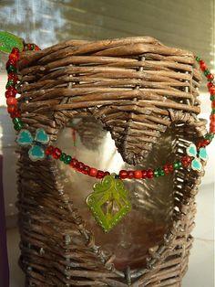 Martinuska / zeleno červený náhrdelník