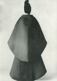 Balenciaga's Marvels of Form - The Bride's Dress, The Cape Dress: All Bias Ovals photographed by David Bailey for Vogue, July 1967
