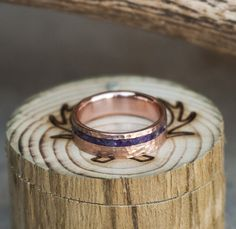 Hammered rose gold and charoite wedding band.