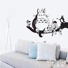 Totoro Fishing Wall Sticker Japanese Cartoon Poster Decal Vinyl Decal Sticker Home Decoration Totoro Sticker 918