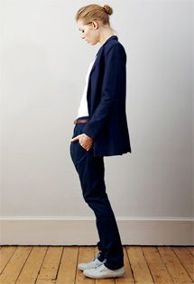 I used to wear suits a lot when I first started working and was overcompensating for my youth. Mostly with tennies or heels and Ts. I really miss them.    This one is from Studio Nicholson