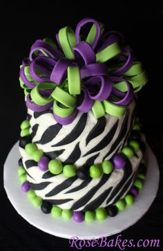 Lime Green & Purple Zebra Cake