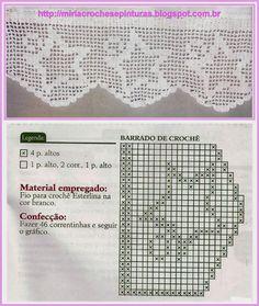 Filet Crochet, Crochet Borders, Crochet Motif, Irish Crochet, Crochet Lace, Crochet Stitches, Crochet Patterns, Lace Tape, Crochet Curtains