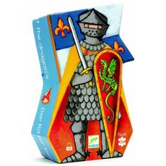 Djeco Silhouette Puzzle - The Knight at the Dragon - 36 Pcs Puzzles 3d, Shape Puzzles, Puzzles For Kids, Designers Guild, Knight Costume For Kids, Summer Iphone Cases, Dragons, Party Bag Toys, Pattern Recognition