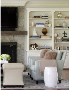 We're back to working in our Family Room. It's been a while. We plan to add three separate shelving/built-ins. We've built, primed and painted the first section (on a back wall) over the last two w...