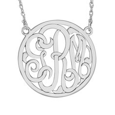 Classic Bordered Monogram Necklace (40mm) - Item 87814 | Jewelers Wife