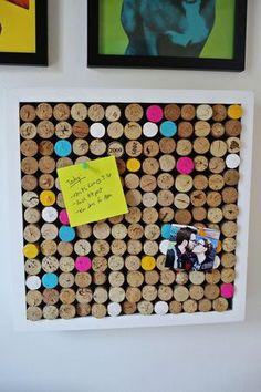 Wine cork bulletin board http://www.abeautifulmess.com/2014/10/try-this-wine-cork-bulletin-board.html