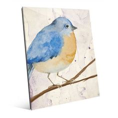 Click Wall Art 'Purple Watercolor Bird' Print of Painting on Wrapped Canvas Size: Bird Prints, Wall Art Prints, Canvas Prints, Acrylic Wall Art, Canvas Wall Art, Bird Canvas, Canvas Canvas, Canvas Material, Canvas Fabric