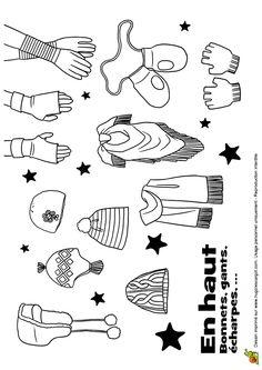 Dessin/coloriage accessoires de mode hiver : bonnet gants echarpes