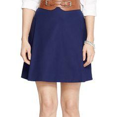 Lauren Ralph Lauren Petite Pleated Cotton Mini Skirt ($27) ❤ liked on Polyvore featuring skirts, mini skirts, navy, petite, navy blue skirt, short pleated skirt, mini skirt, a line mini skirt and pleated skirt