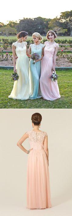 Illusion Bateau Neck Column Lace Bodice Long Chiffon Bridesmaid Dress