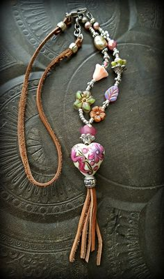 Lampwork Glass Tassel Necklace Flower Jewelry Flower by YuccaBloom