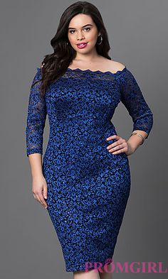 Knee Length Off the Shoulder Lace Dress at PromGirl.com