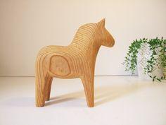 Caballo sueco Dalarna tallado a mano// Dala horse por tiendanordica