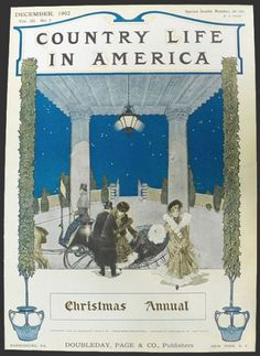 Harrison fisher american 1875 1934 puck magazine ch on country life in america magazine cover december christmas annual american gilded age era fashionable society ladies arriving by horse drawn coach m4hsunfo